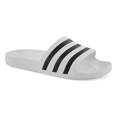 Mns Adilette Aqua wht/blk slide sandal