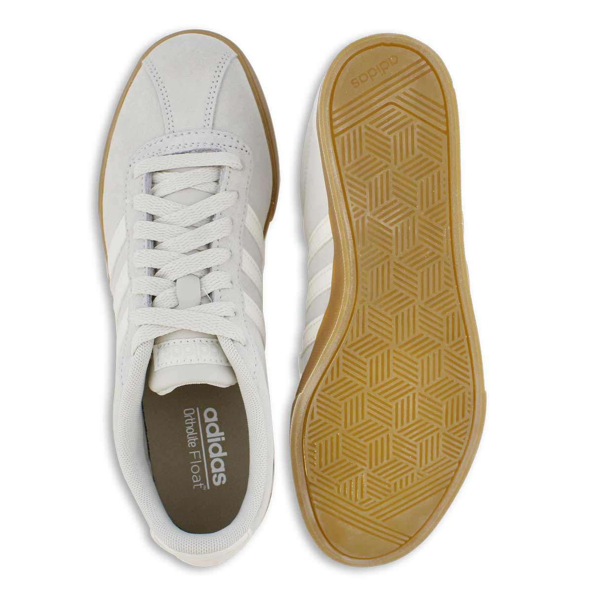 Lds Courtset raw wht/wht lace up sneaker