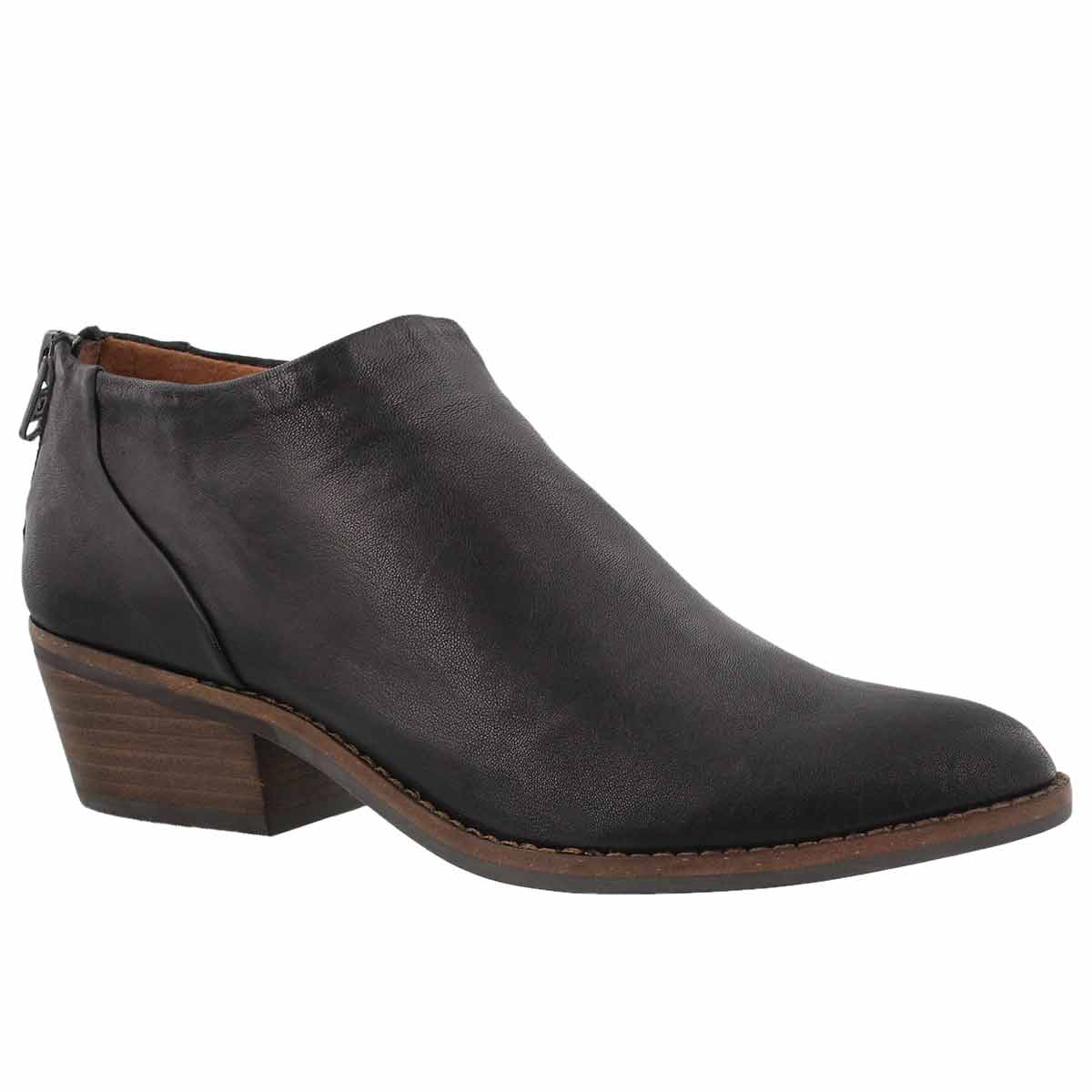 Women's FAI black zip up low casual booties