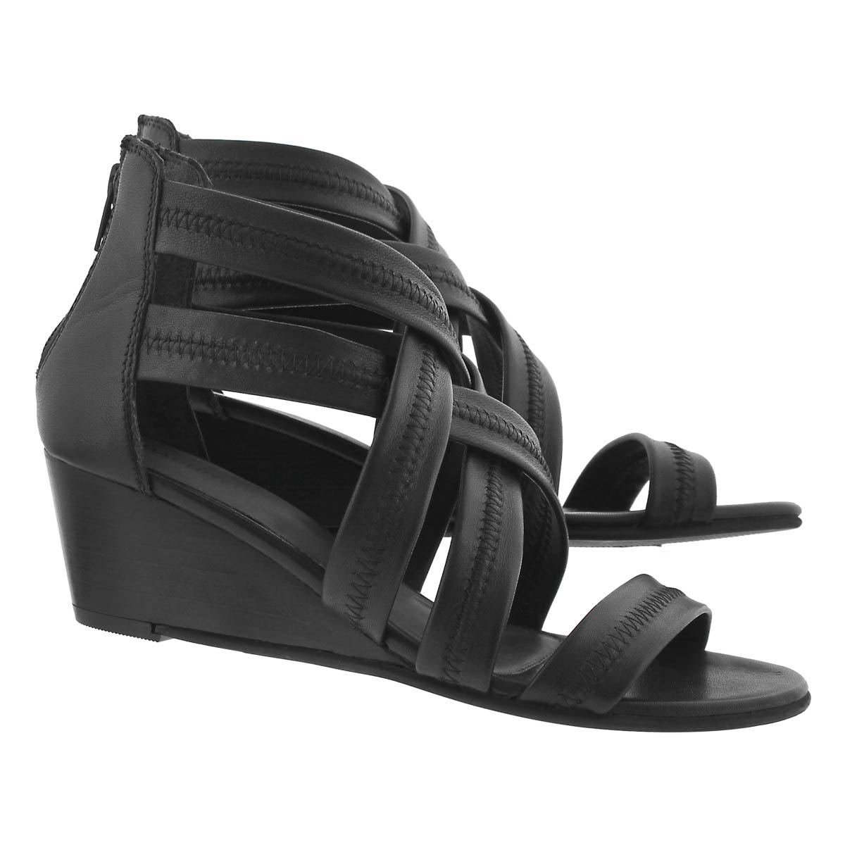 Lds Fanny black lthr wedge dress sandal