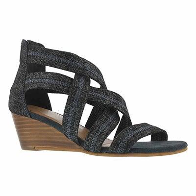Lds Fanny navy wedge dress sandal