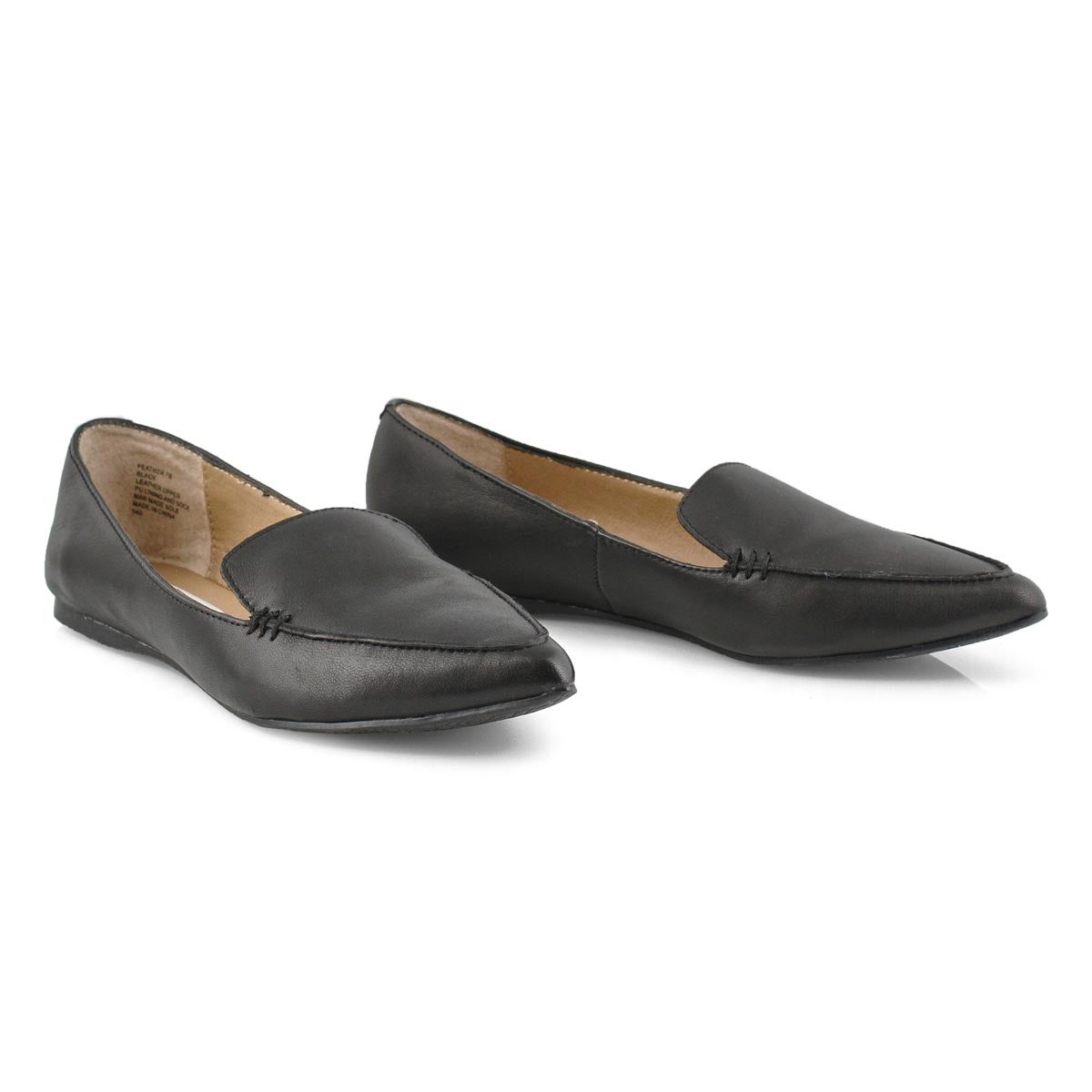 Lds Feather black leather casual flat