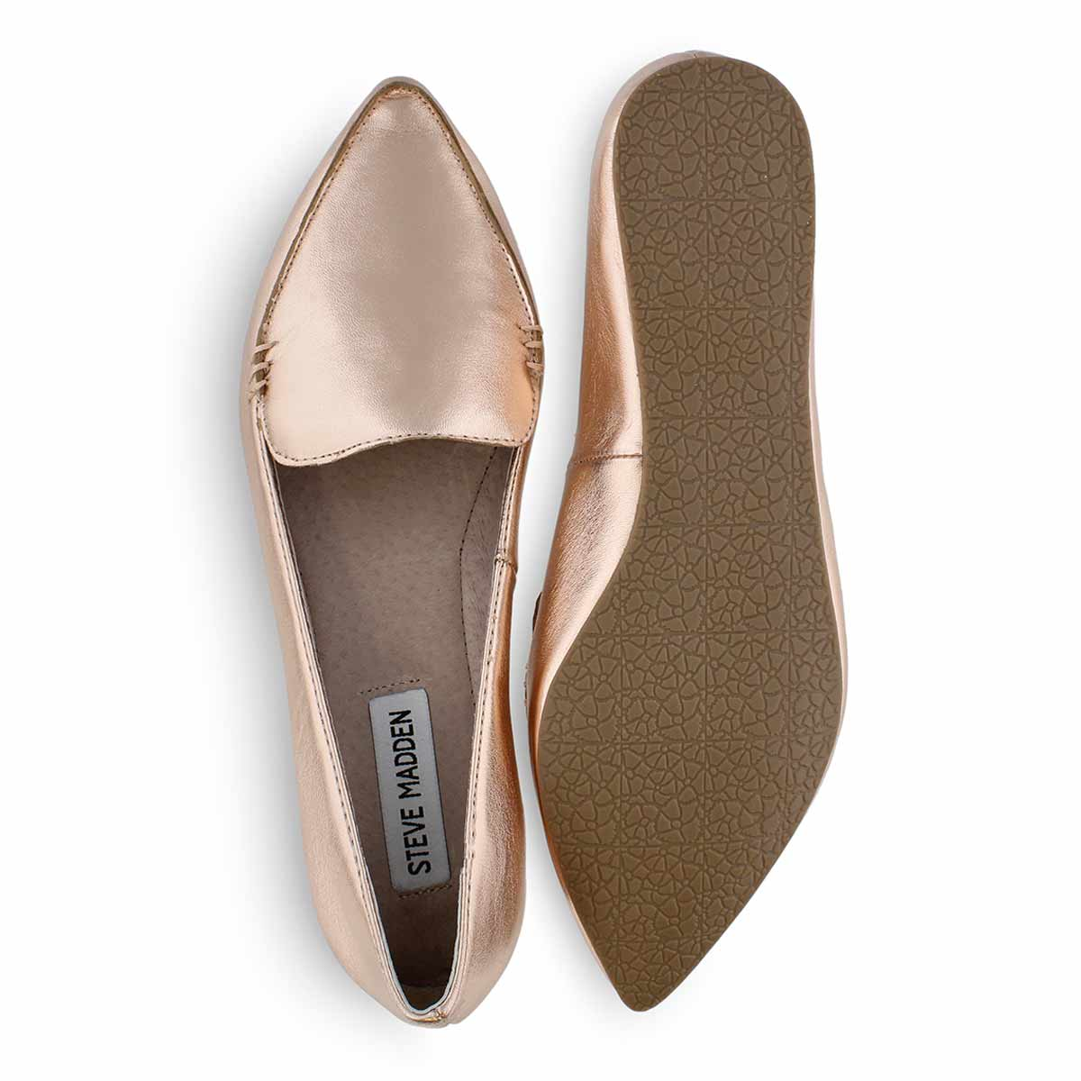 Lds Feather rose gold casual flat