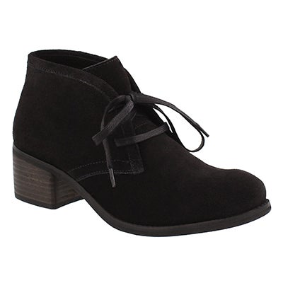 Lds Fiona black lace up casual bootie