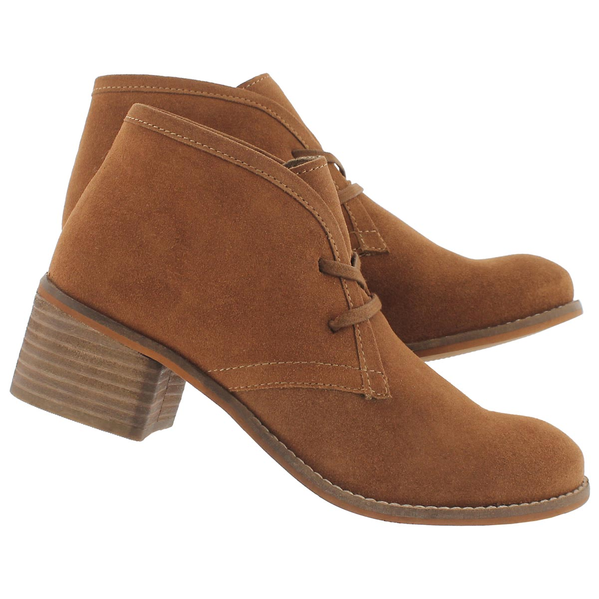 Lds Fiona dark tan lace up casual bootie