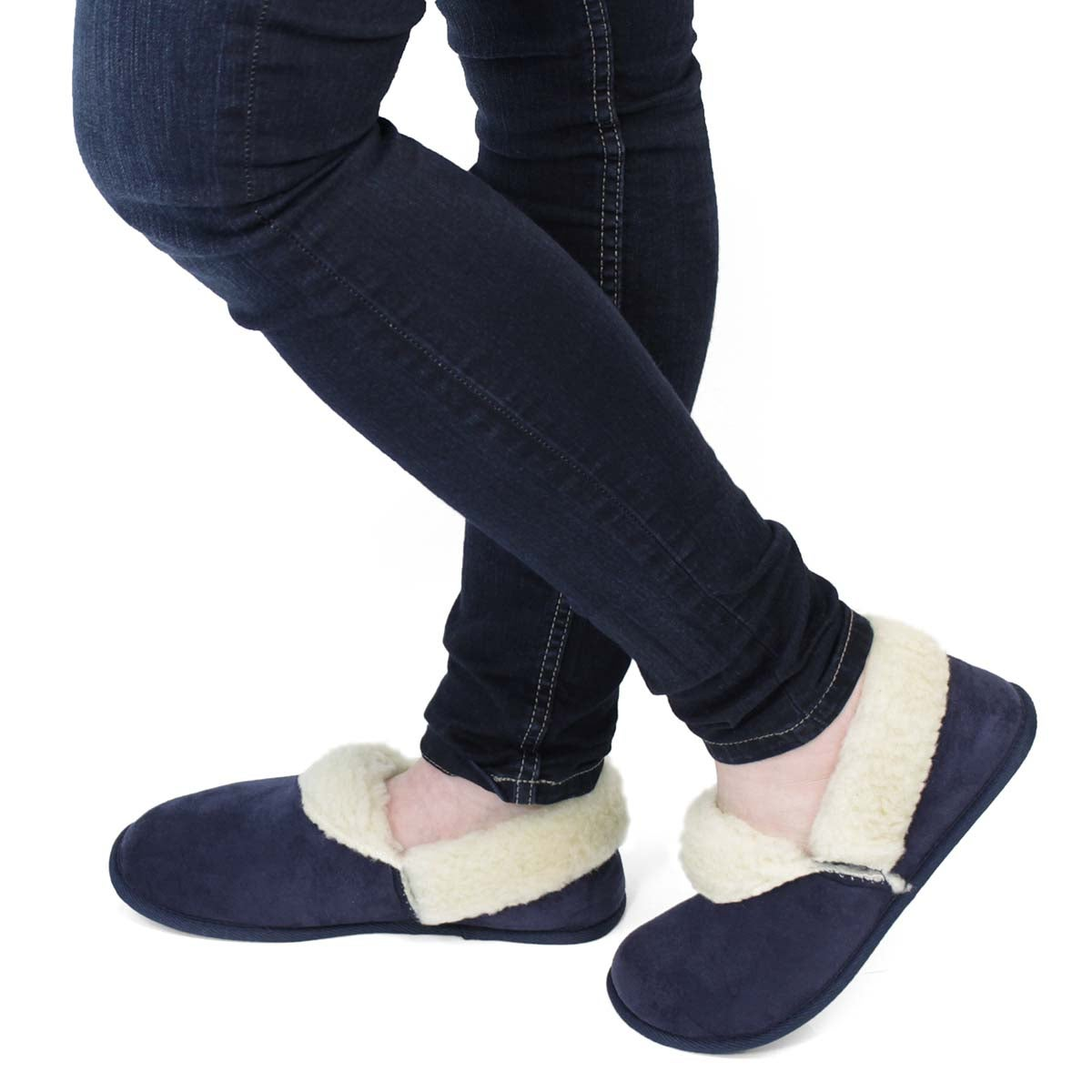 Lds Flapjack navy closed back slipper