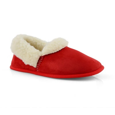 Lds Flapjack red closed back slipper