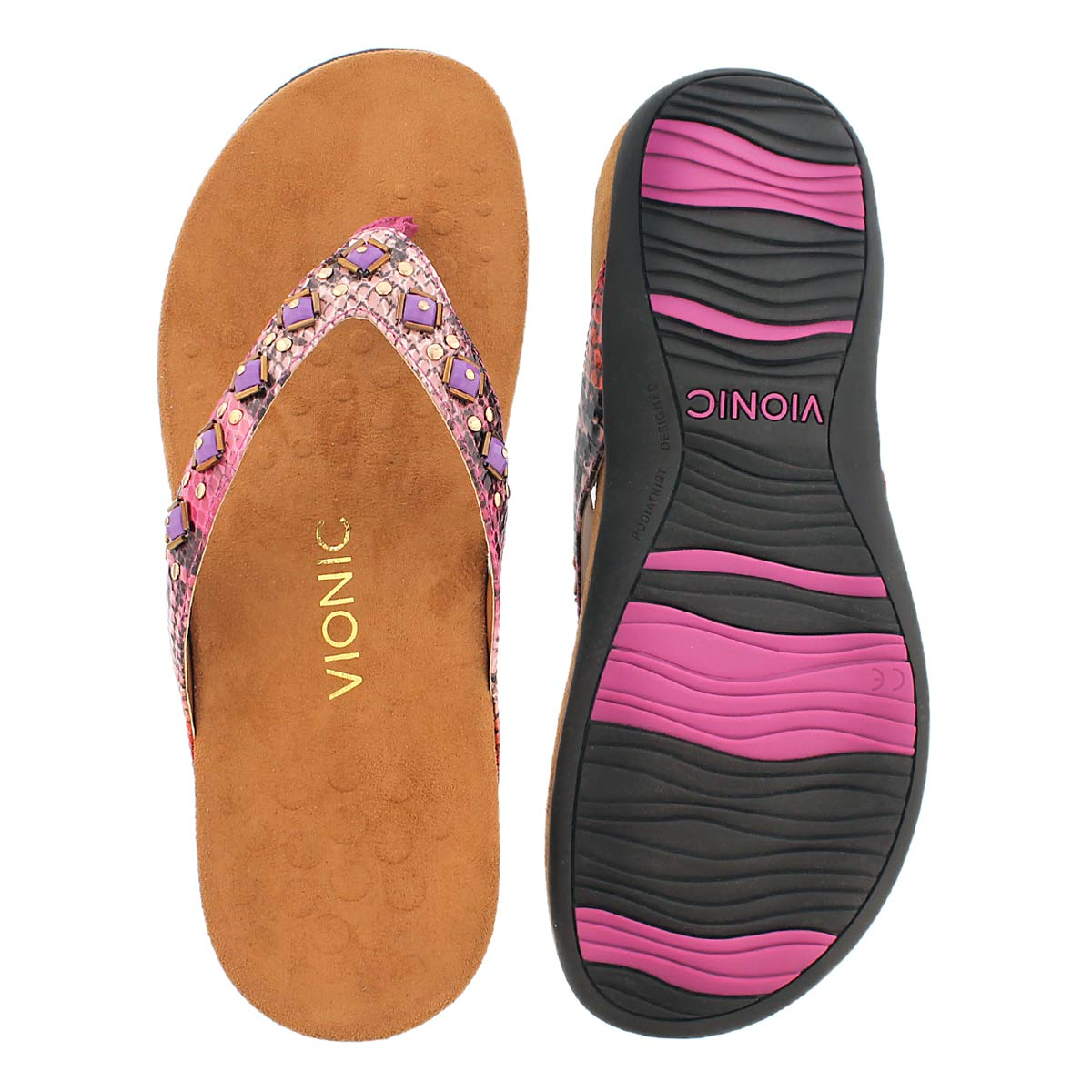 Lds Floriana pink arch support flip flop
