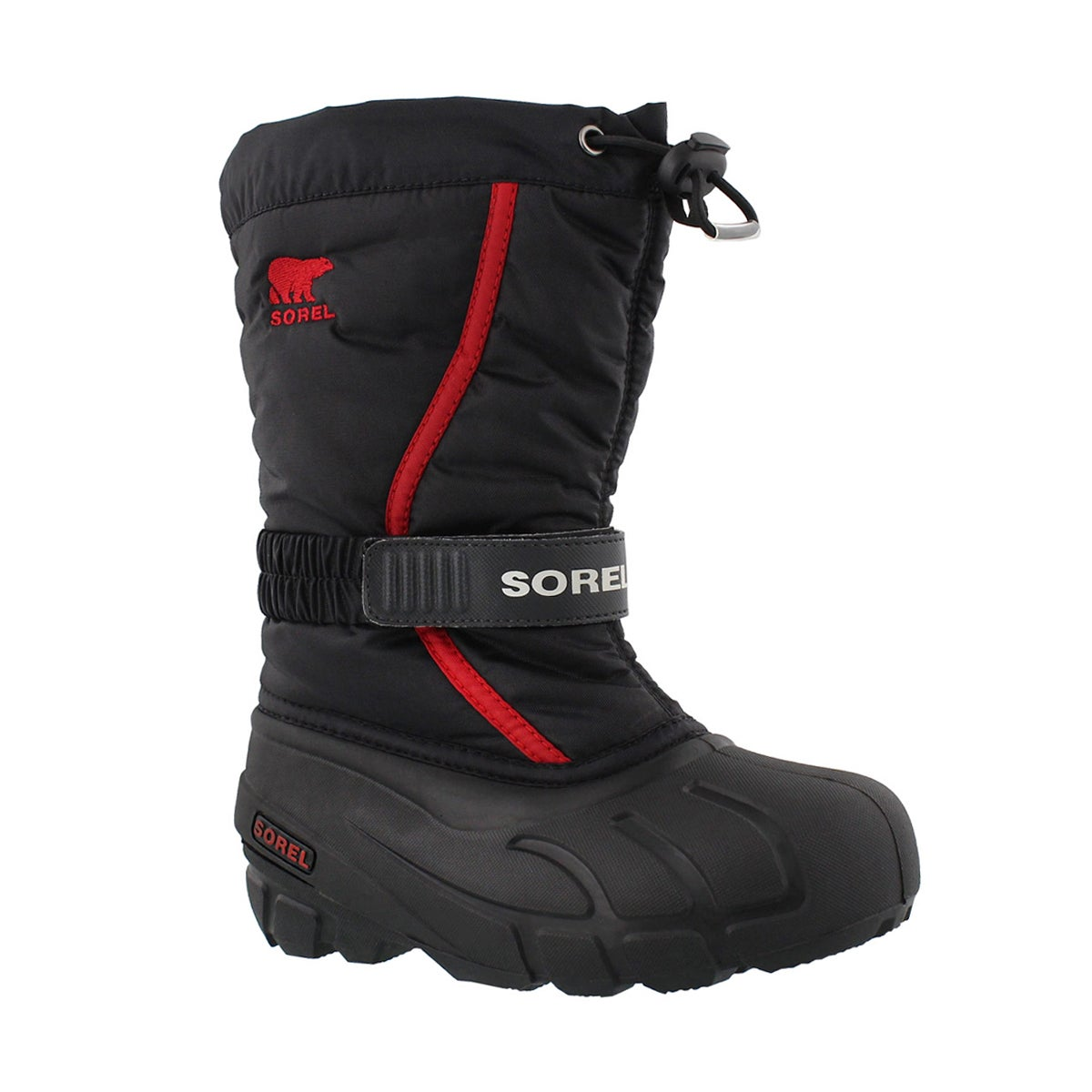 Boys' FLURRY black/red pull on winter boots