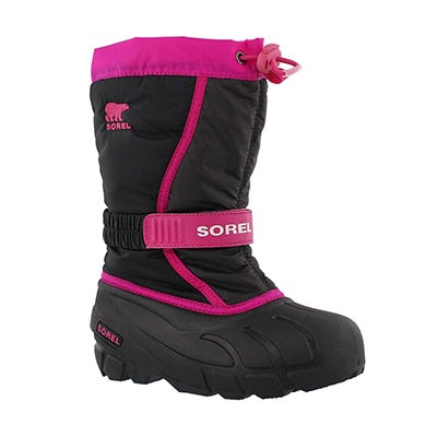 Sorel Girls' FLURRY pink/black pull on winter boots