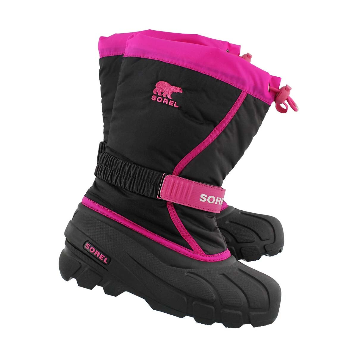 Grls Flurry pnk/blk pullon winter boot