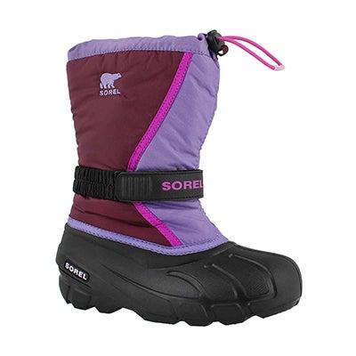 Grls Flurry purple pullon winter boot
