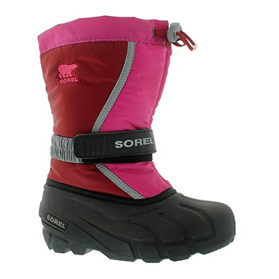 Sorel Girls' FLURRY TP red/grey pull-on winter boots