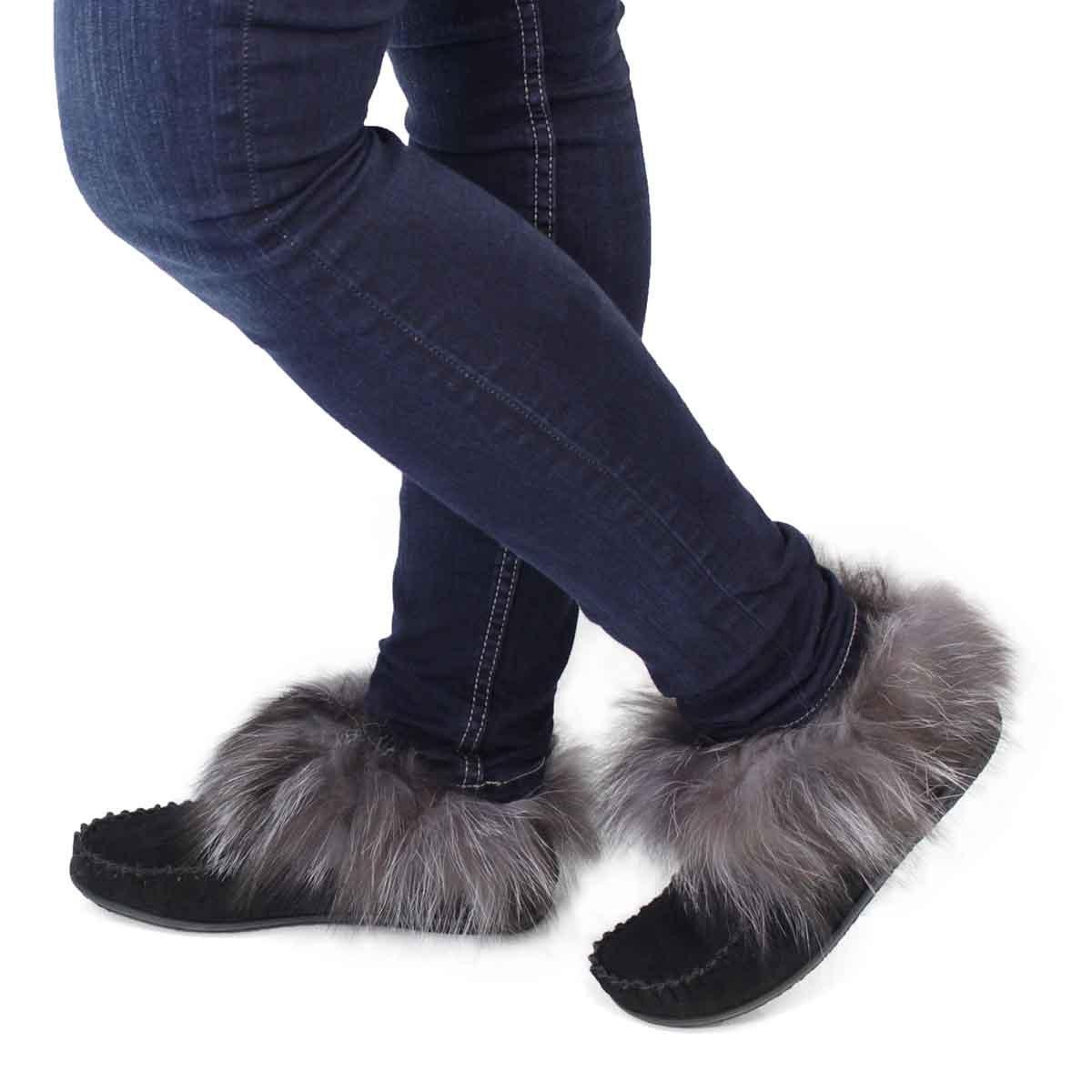 Lds Frances black fox fur moccassin
