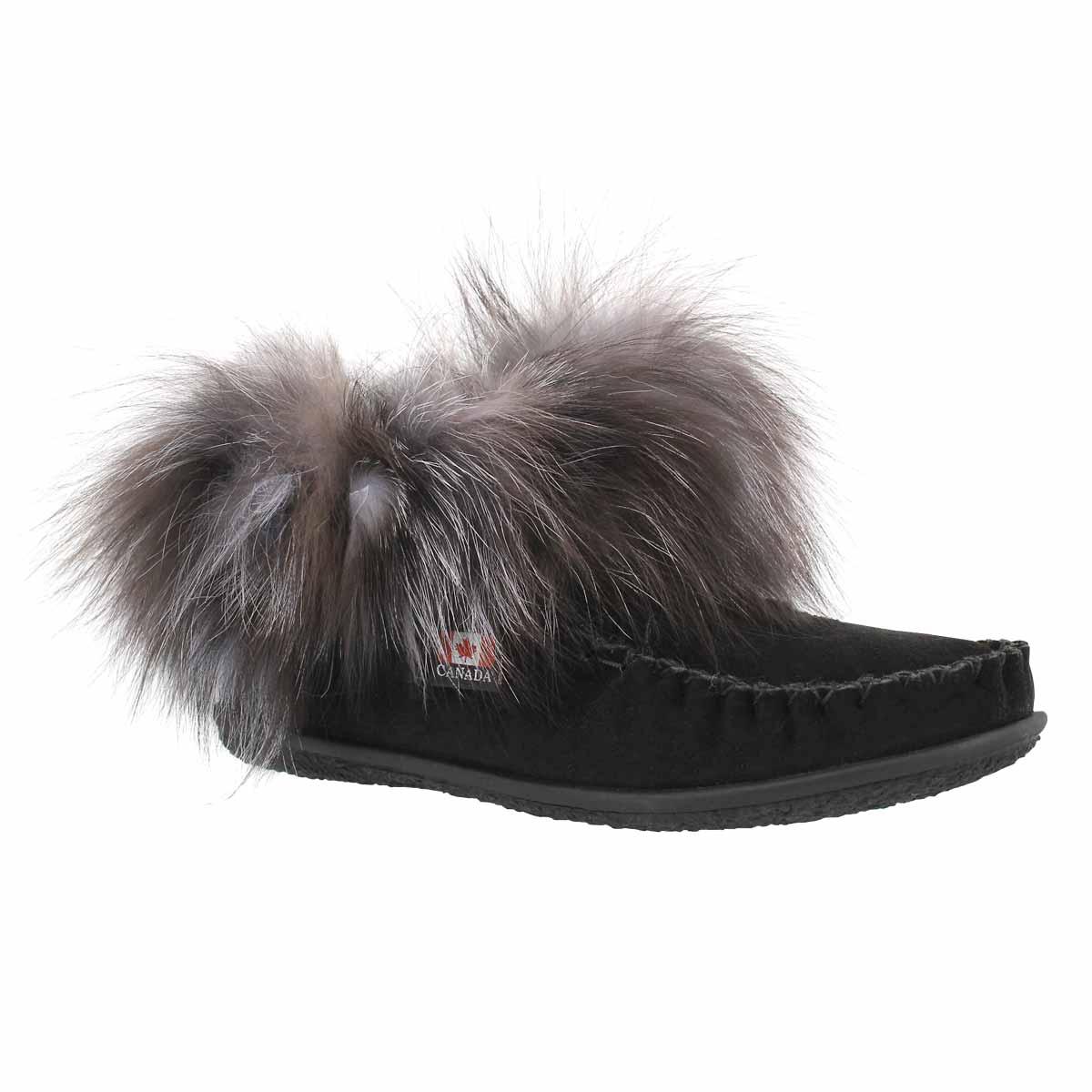 Women's FRANCES black fox fur moccasin