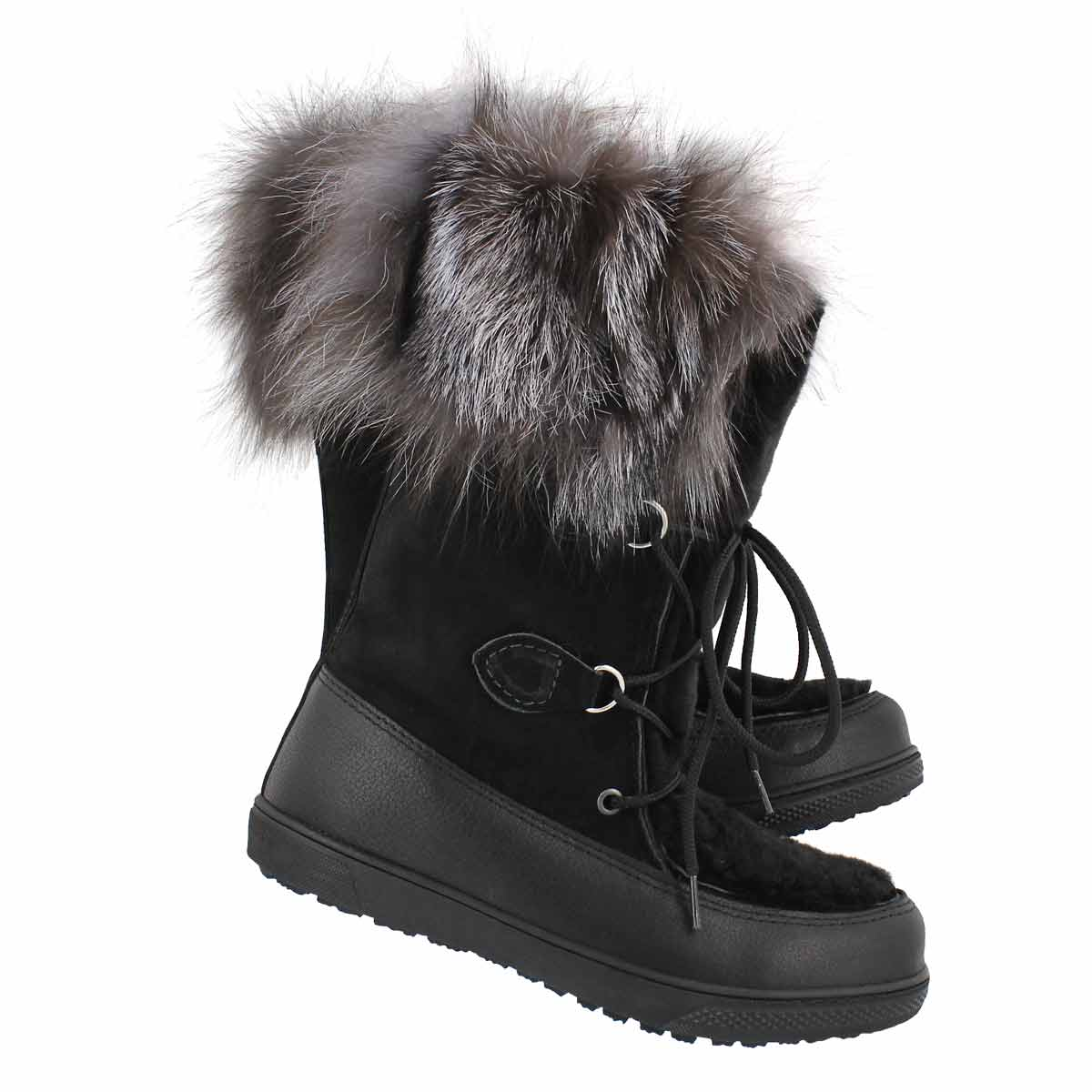 Lds Frederica black fox fur mukluk