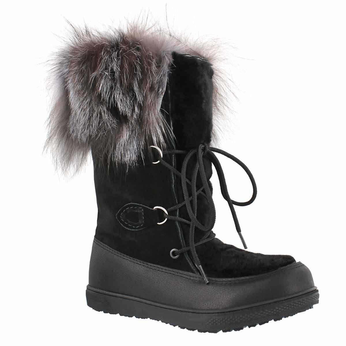 Women's FREDERICA black fox fur mukluks