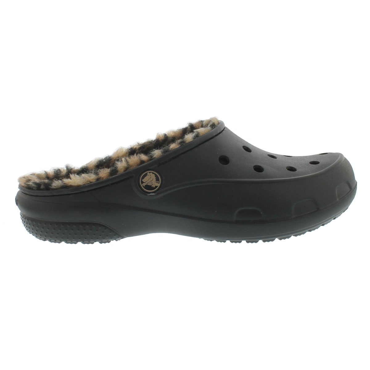 Lds Freesail Leopard Lined blk/gld clog