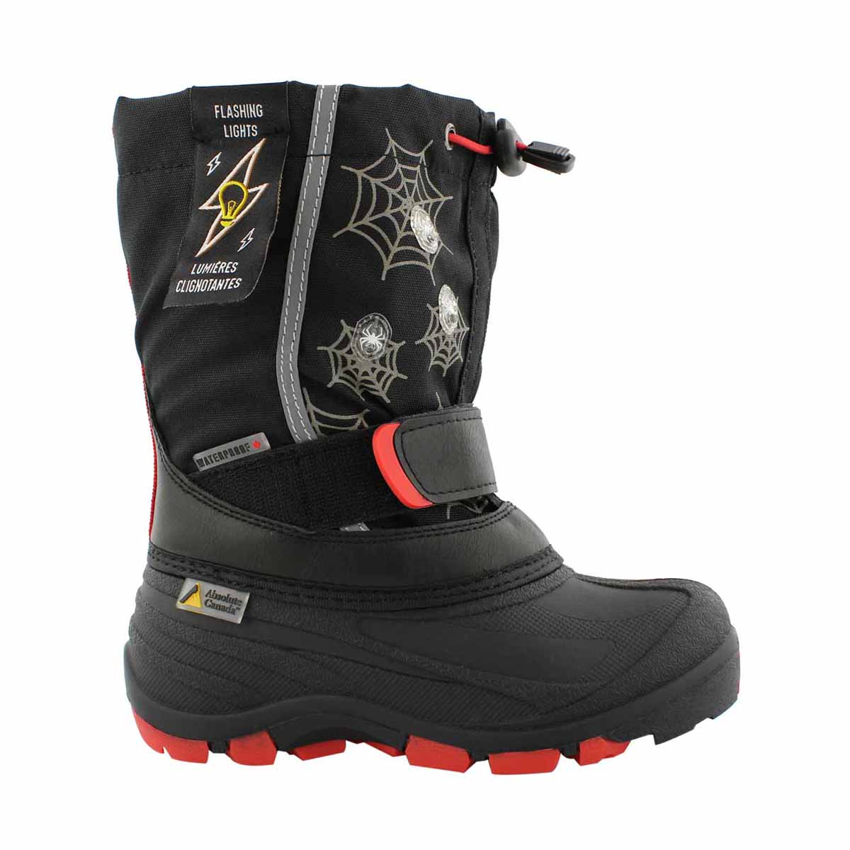 Bys Frosty bk/rd wp lightup wntr boot