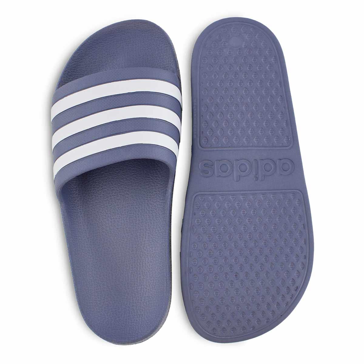 Lds Adilette Aqua nvy/wht slide sandal