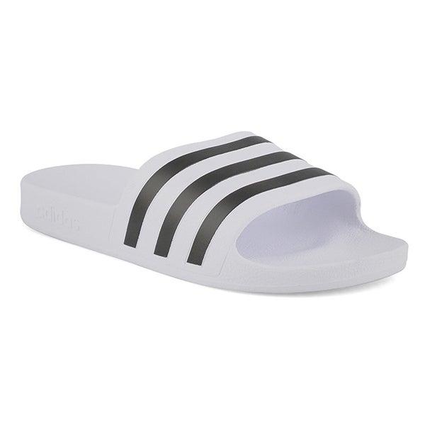 Lds Adilette Aqua wht/blk slide sandal
