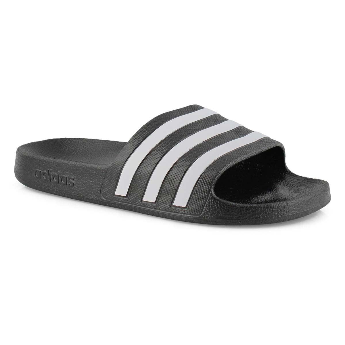 Lds Adilette Aqua blk/wht slide sandal