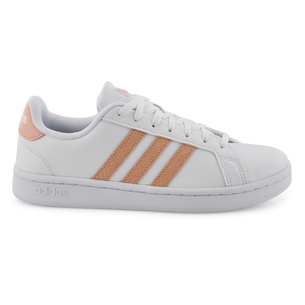 Lds Grand Court wht/pnk sneaker