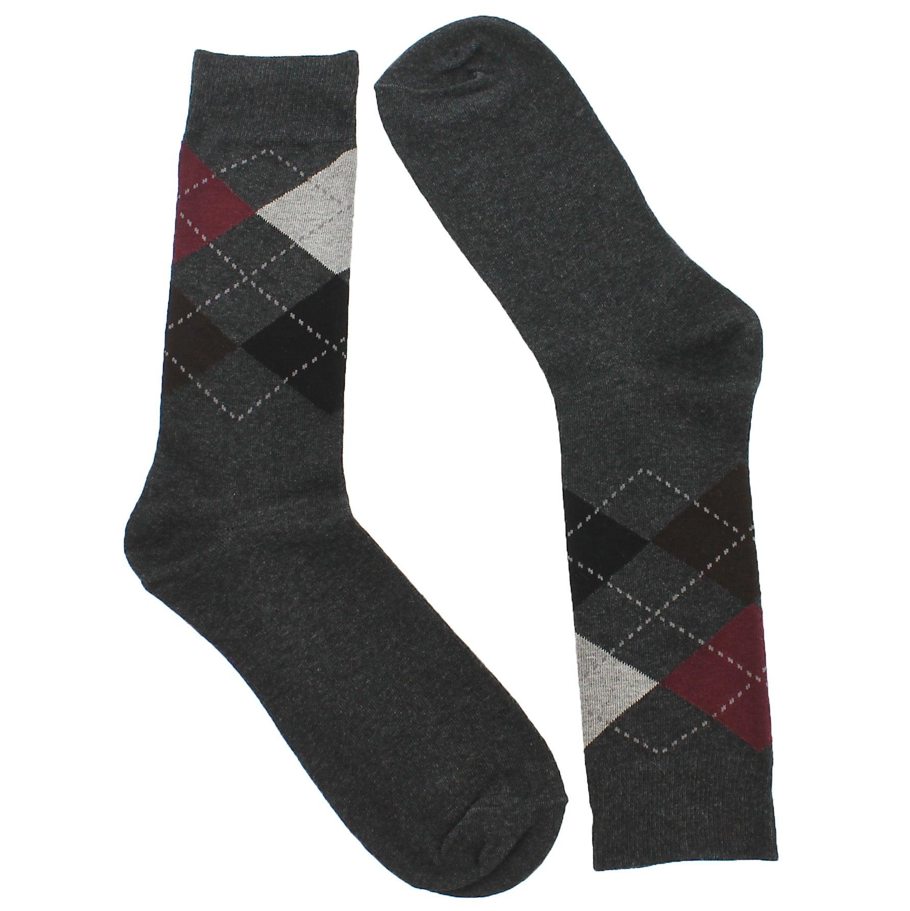Mns Argyle 2 Ply Crew charcoal sock 1 pk