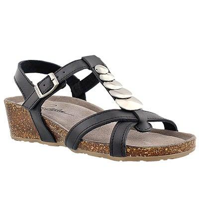 SoftMoc Women's GABRIELE black memory foam wedge sandals