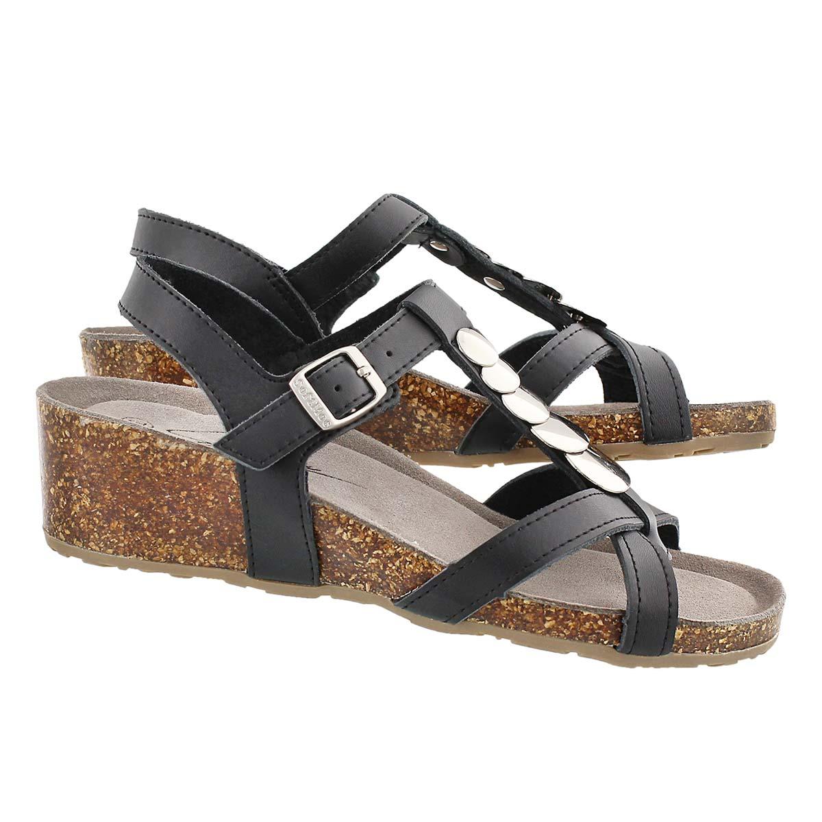 Lds Gabriele blk mem. foam wedge sandal