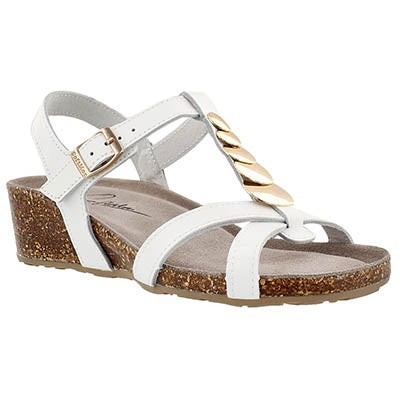SoftMoc Women's GABRIELE white memory foam wedge sandals
