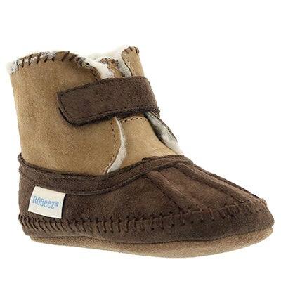 Robeez Infants' GALWAY COZY BOOTIE brown slippers