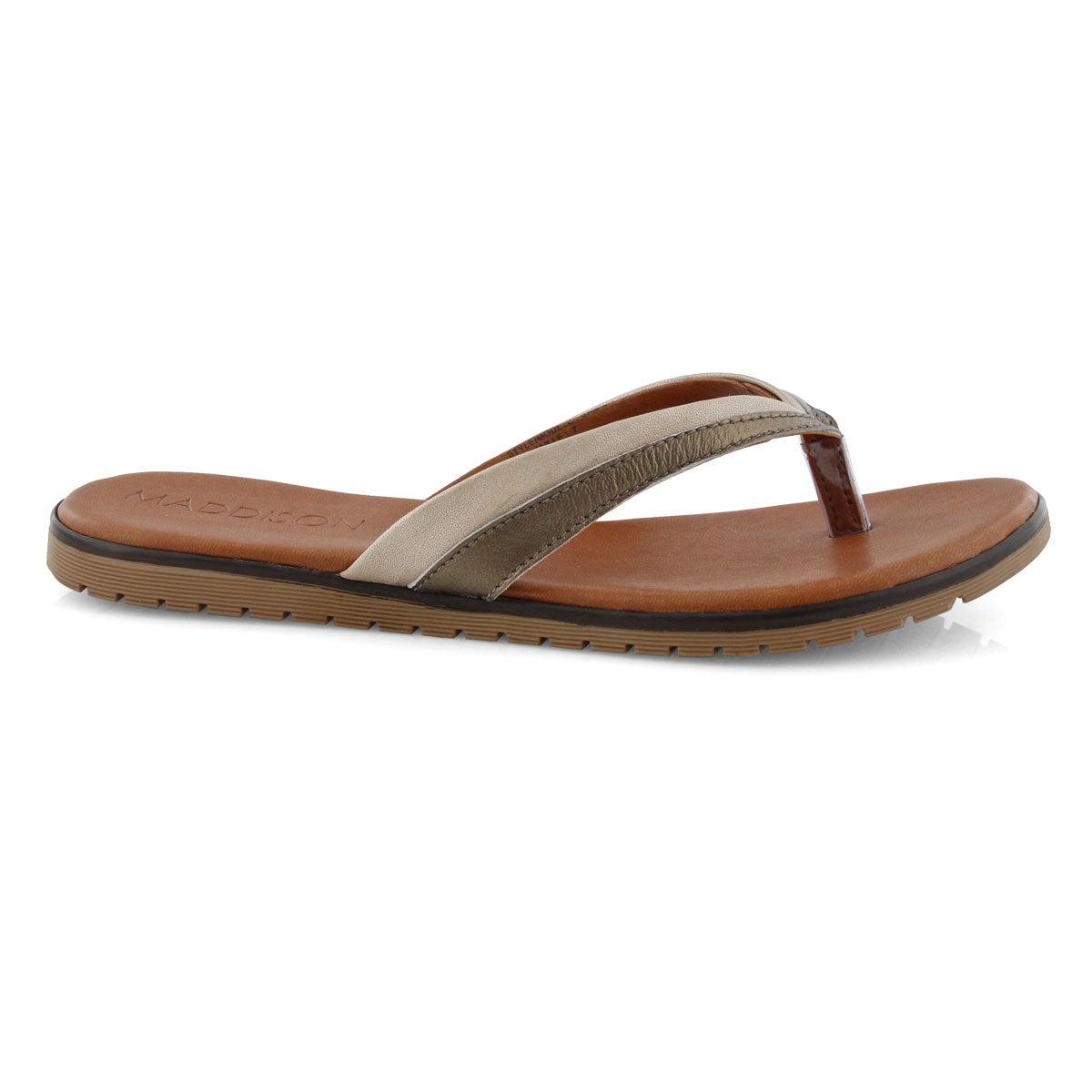Lds Gamila pewter/champagne thong sandal