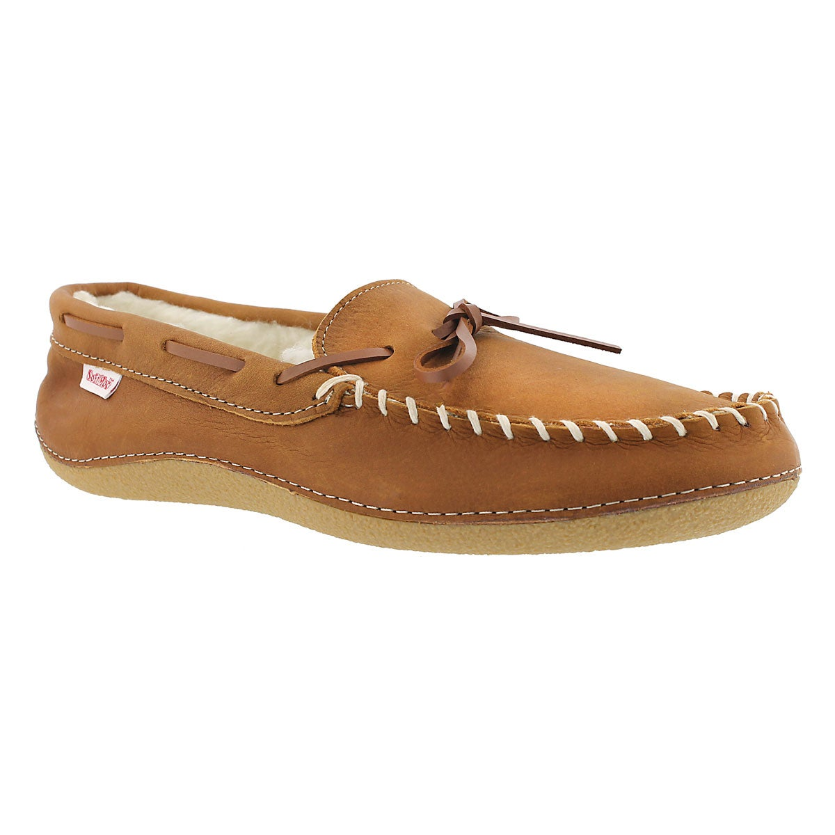 Men's GARY bark fleece lined leather moccasins