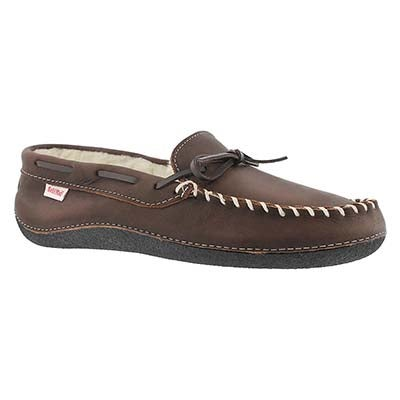 Mns Gary brown fleece lined lthr moc