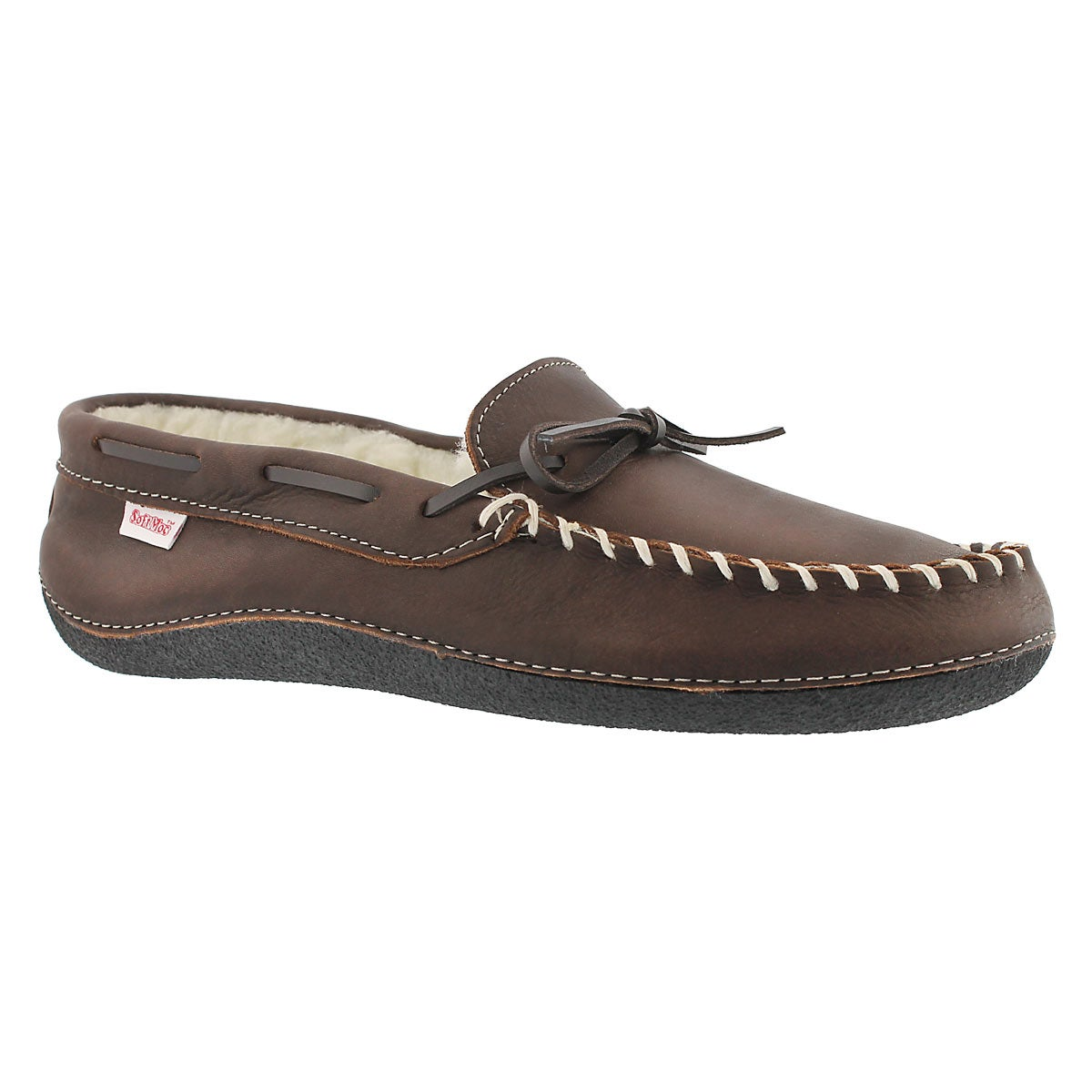 Men's GARY brown fleece lined leather moccasins