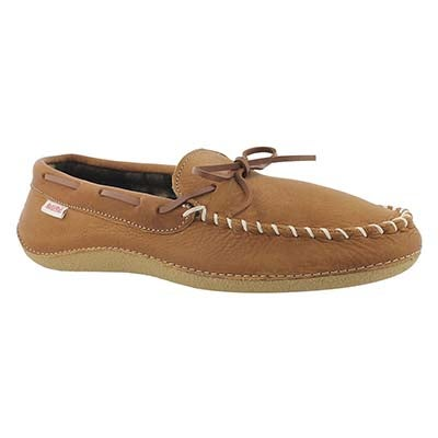 SoftMoc Men's GARY bark leather plaid lined moccasins