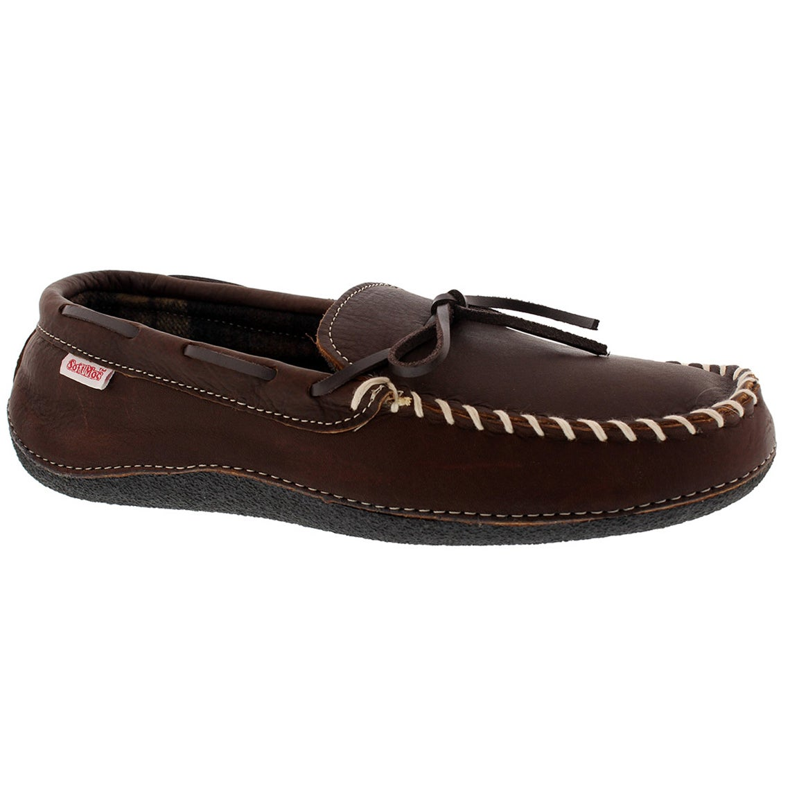 Men's GARY brown leather plaid lined moccasins