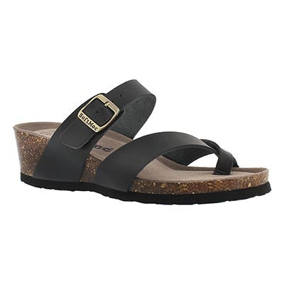 SoftMoc Women's GEMMA black memory foam wedge sandals