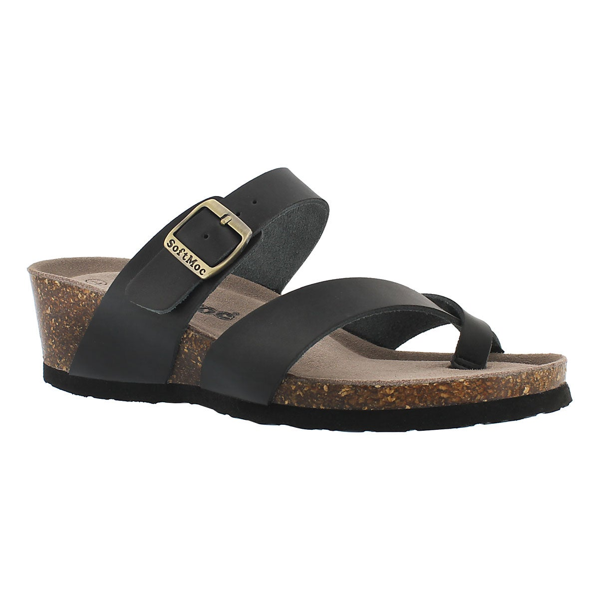 Women's GEMMA black memory foam wedge sandals