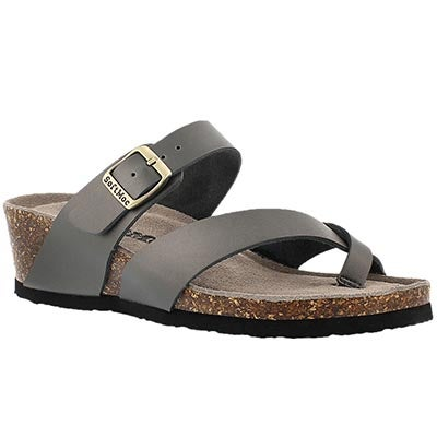 SoftMoc Women's GEMMA pewter memory foam wedge sandals