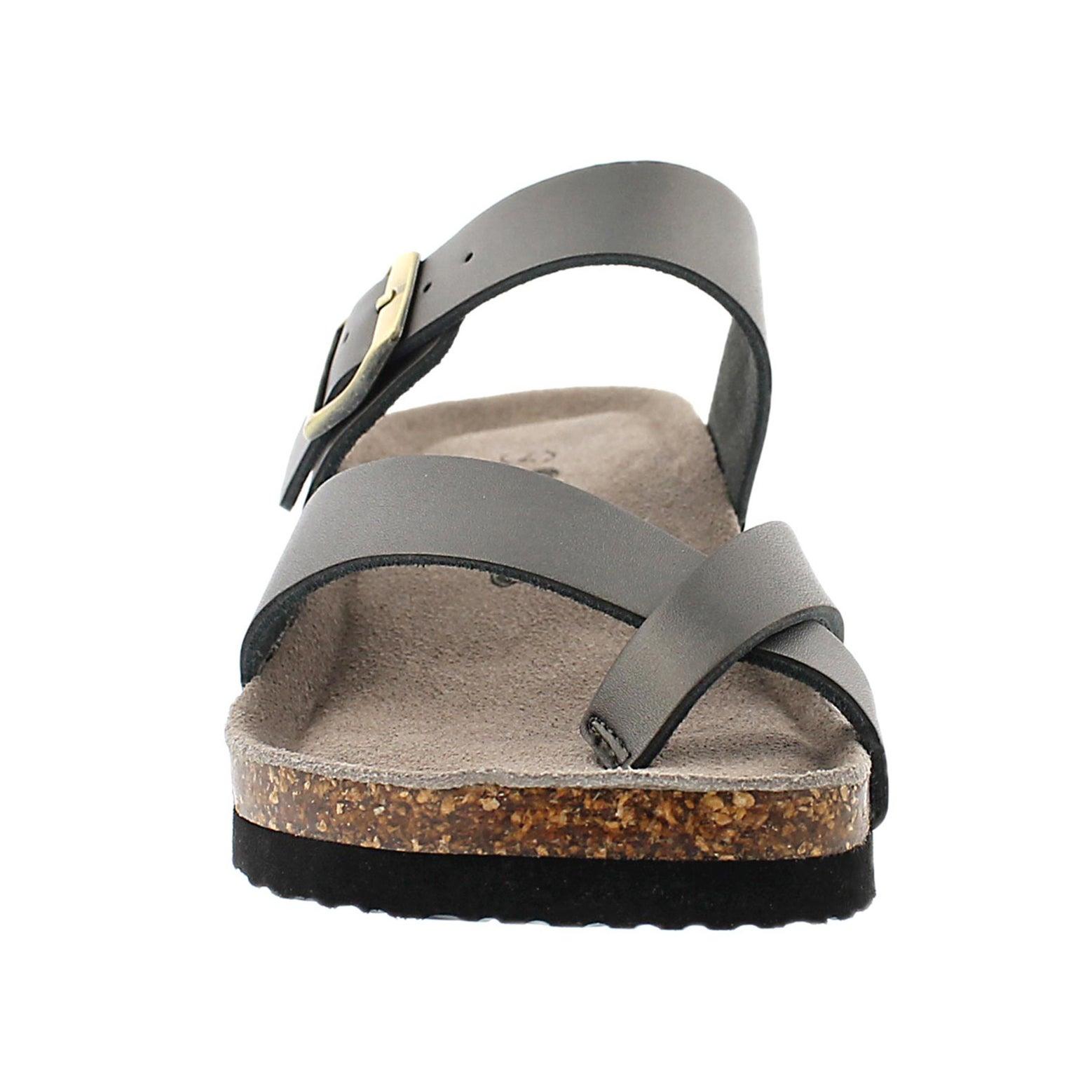 Lds Gemma pewter mem. foam wdge sandal