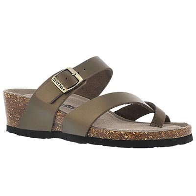 SoftMoc Women's GEMMA rose gold memory foam wedge sandals