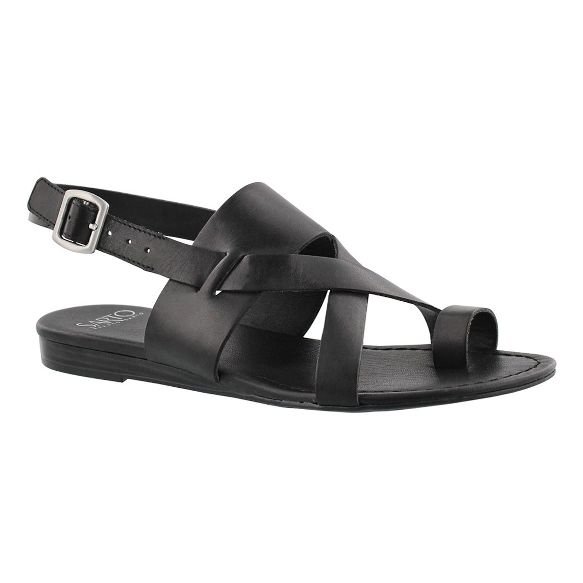 Women's GIA black toe wrap casual sandals