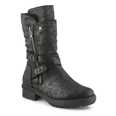 Lds Giana black side zip mid calf boot