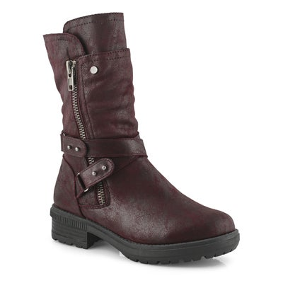 Lds Giana wine side zip mid calf boot