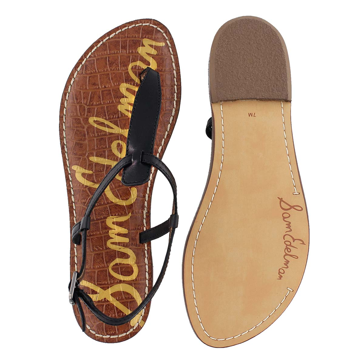 Lds Gigi black t-strap casual sandal