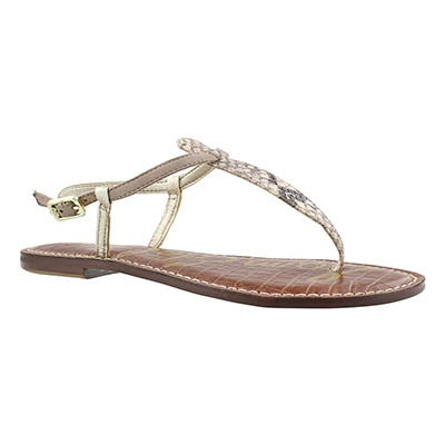 Sam Edelman Women's GIGI natural/python t-strap casual sandals