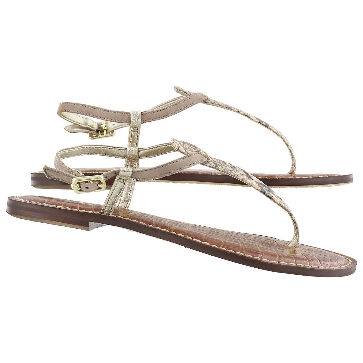 Lds Gigi nat/pyth t-strap casual sandal