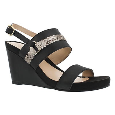 SoftMoc Women's GILI black memory foam wedge sandals